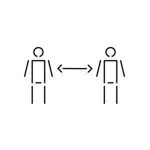 Pictogramme de deux individus à distance