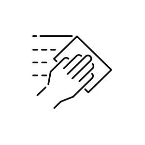 Pictogramme d'une main qui nettoie avec une lingette