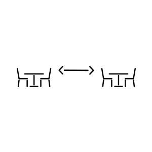 Pictogramme de deux tables séparées