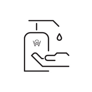Pictogramme d'une pompe de gel désinfectant avec le logo de l'Hôtel William Gray